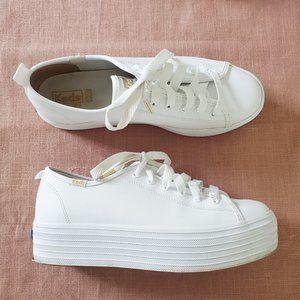 Keds Triple Up Leather White Platform Sneaker 8.5